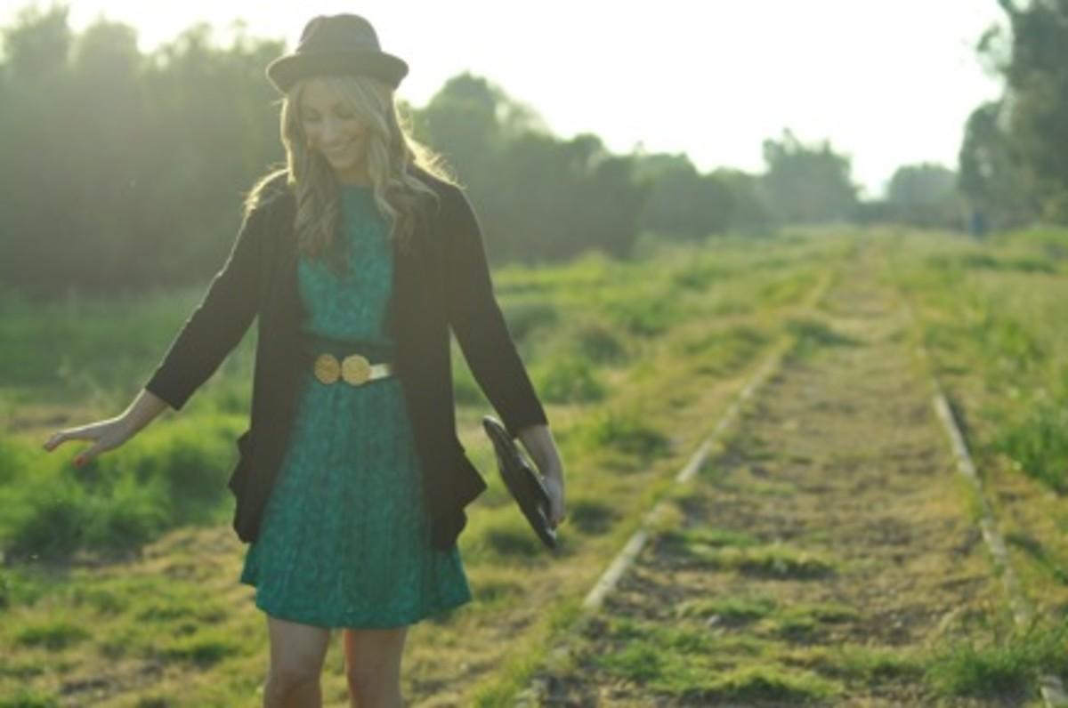 Forever 21 Hat, Reiss Blazer, Vintage Dress, Belt and Bag, VPL Cut-Off Boots