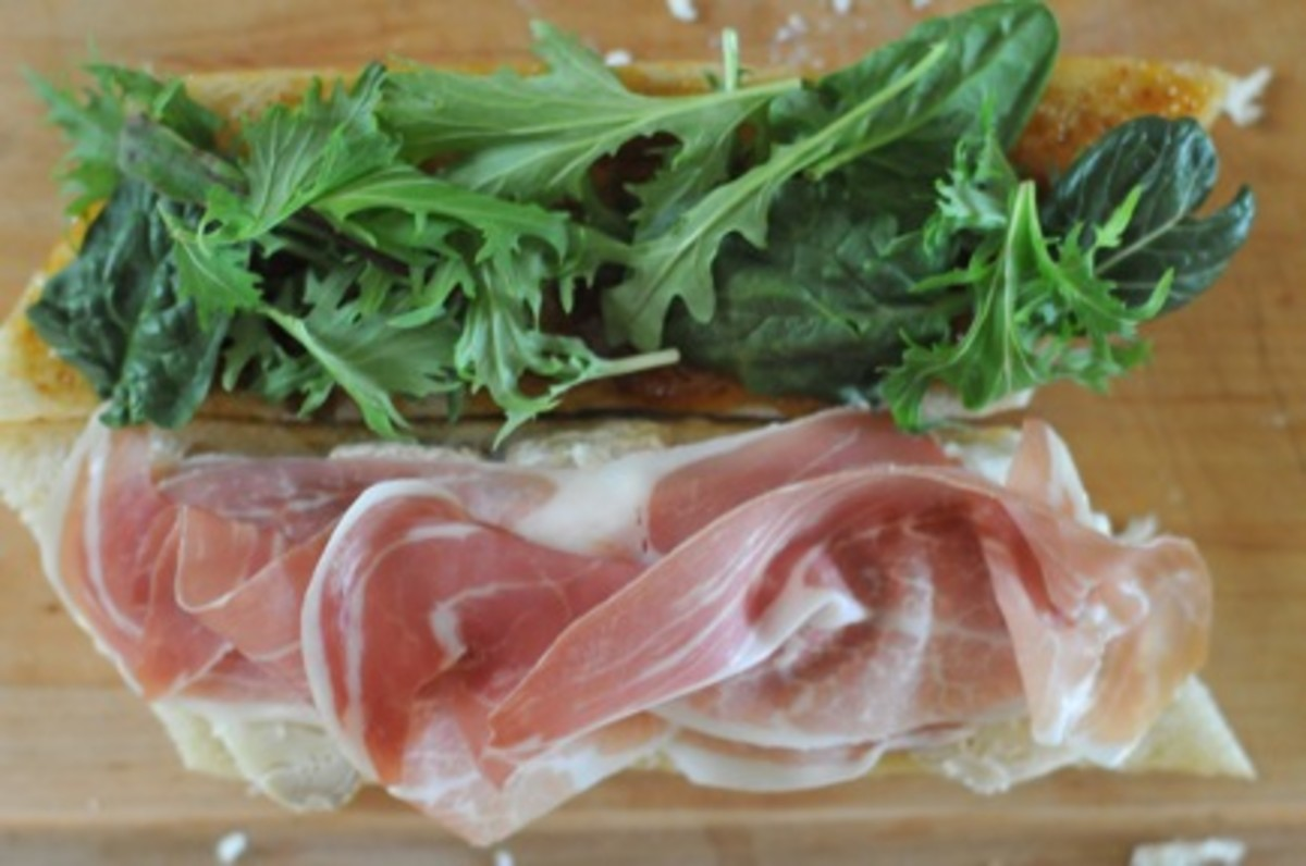 Prosciutto and Brie Sandwich with Fig Jam and Spicy Greens ...