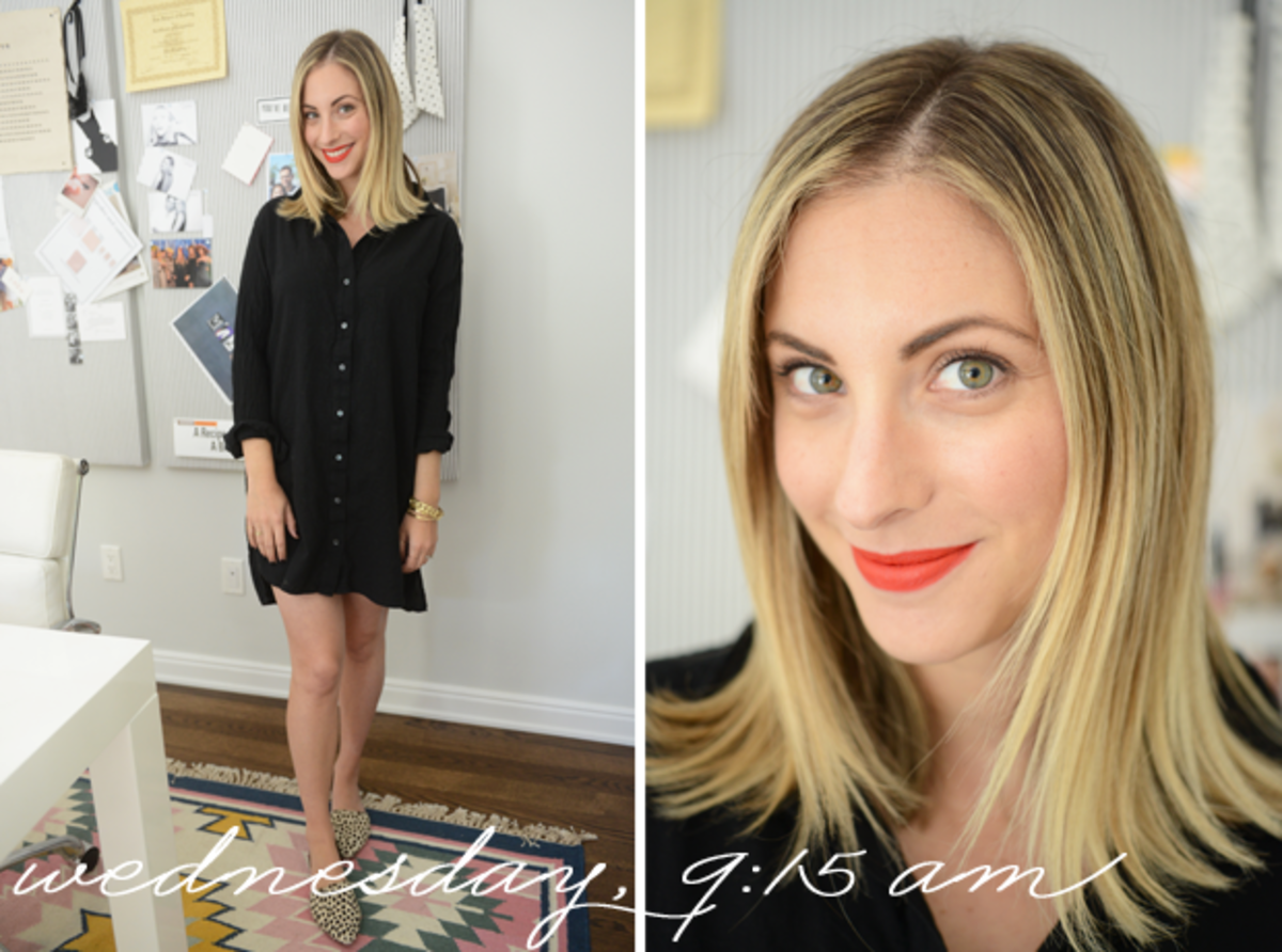 {James Perse Dress, Jenni Kayne Flats, Topshop 'Rio Rio' Lipstick}