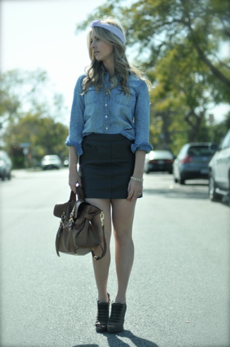 Elizabeth and James Booties, American Apparel Headband, J.Crew Shirt, Vintage Bracelet, Zara Skirt, Mulberry Bag