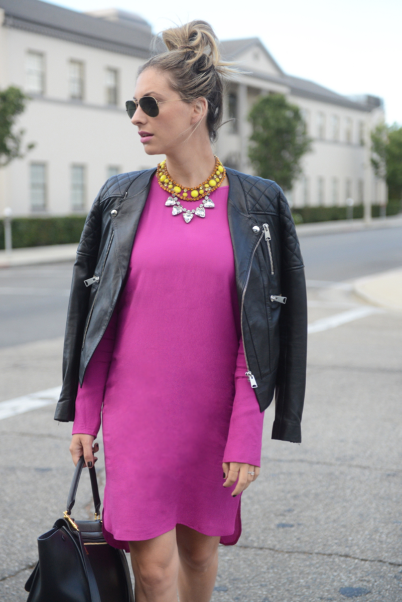{Ray-Ban Sunglasses, Anine Bing Leather Jacket, Wayf Dress, Zara Heels, Vintage + Forever 21 Necklaces, Celine Bag, MAC 'Rebel' Lipstick}