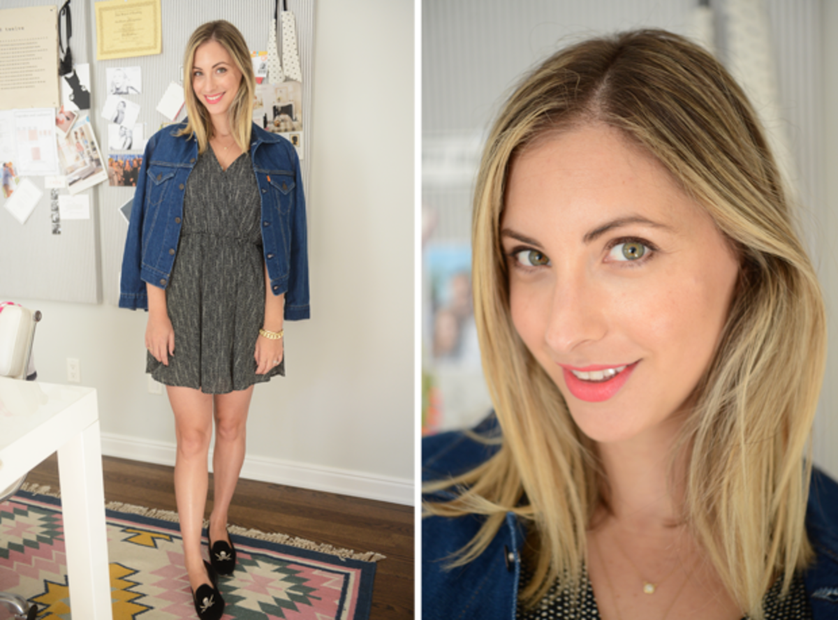 "{Friday: Lush Dress, Levi's Denim Jacket, Stubbs & Wooten Slippers, Maybelline ""Shocking Coral"" Lipstick}"
