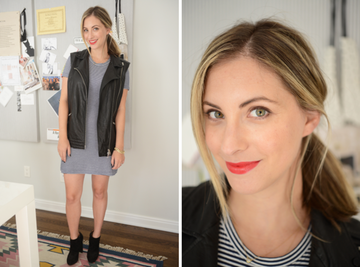 """{Thursday:Theory Dress, All Saints Vest, Christian Louboutin Booties, Maybelline """"Are you Red-y"""" Lipstick}"""