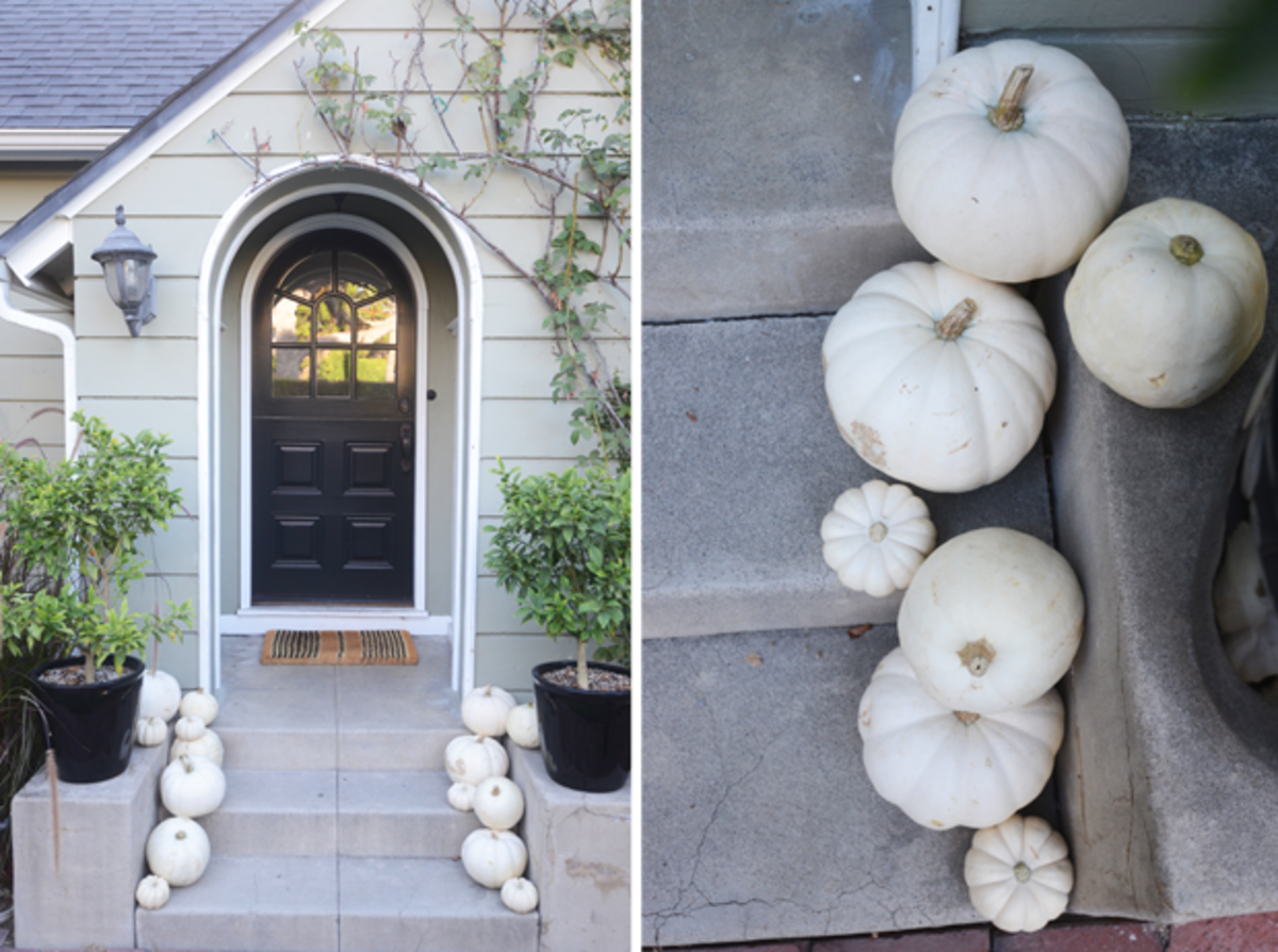 {White pumpkins at our entrance}