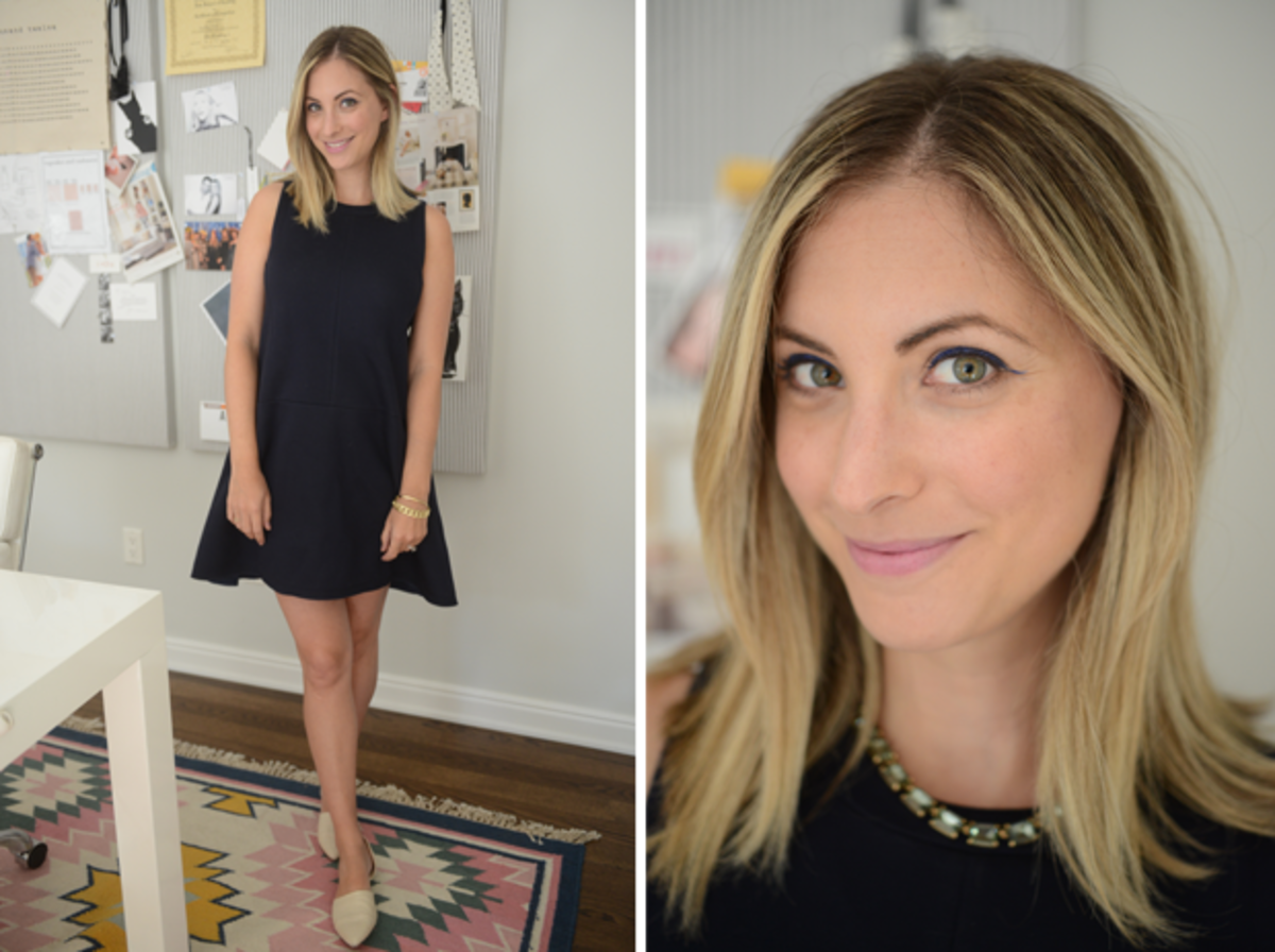 {Tuesday: Madewell Dress, J.Crew Necklace, Jenni Kayne Flats, RMS 'Demure' Lipstick}