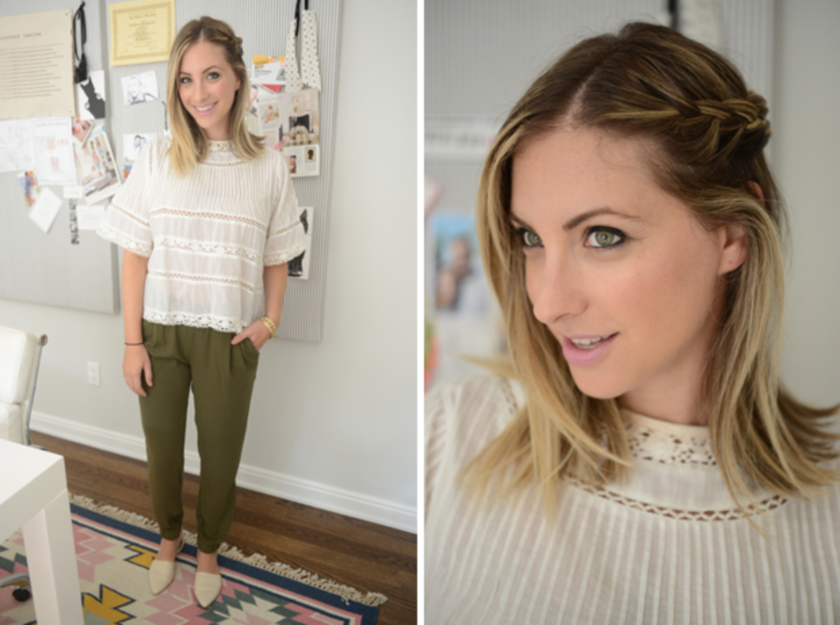 {Wednesday: Love Sam Shirt, Banana Republic Pants, Jenni Kayne Flats}