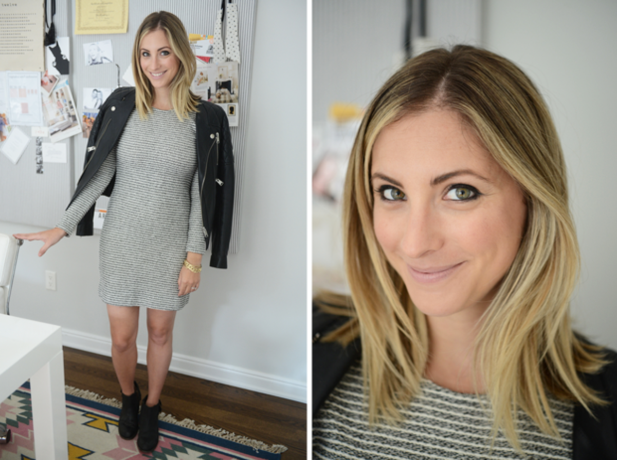 {Monday: Banana Republic Dress, Anine Bing Jacket, H by Hudson Boots, Tom Ford 'Nude Vanile' Lipstick}