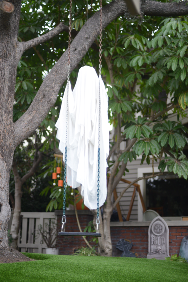 {Eerie neighborhood decoration - especially in the wind}