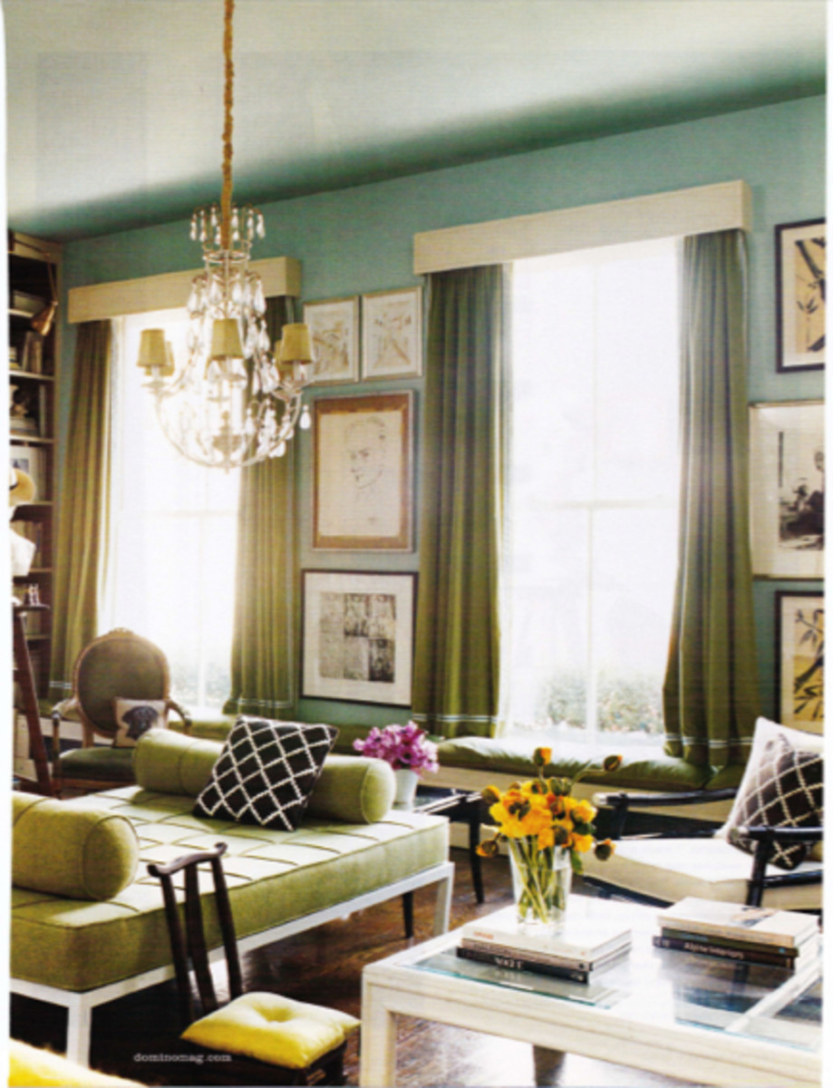 {Modern day opulence; love the pear green with robin's egg blue}