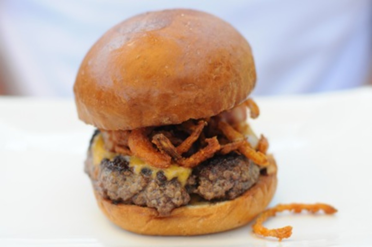 The Manly Burger {beer-cheddar cheese, smoked-salt onion strings, bacon lardons}