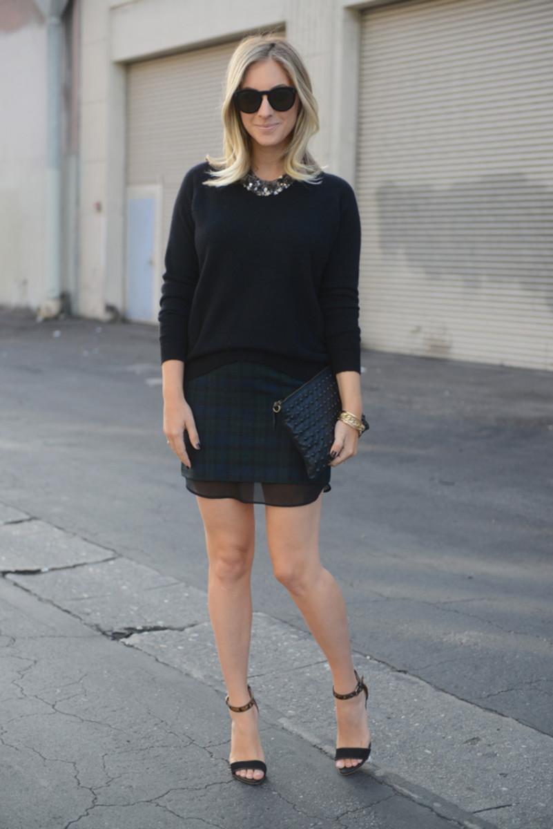 {Celine Sunglasses, Tom Ford 'Nude Vanille' Lipstick, 360 Sweater c/o, Martin + Osa Necklace, Zara Skirt, Club Monaco Heels, Topshop Clutch}