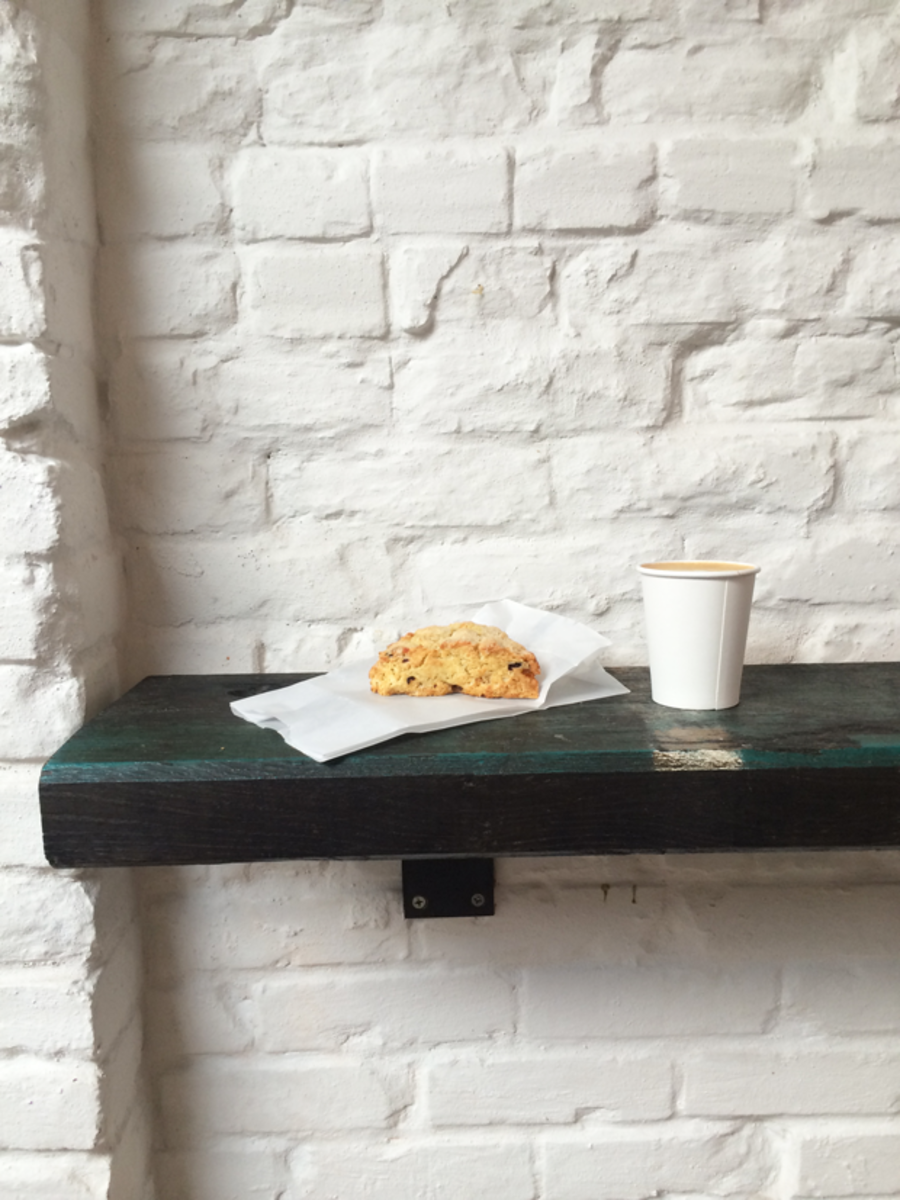 {Foggy morning in Venice with coffee and a scone at Gjusta}