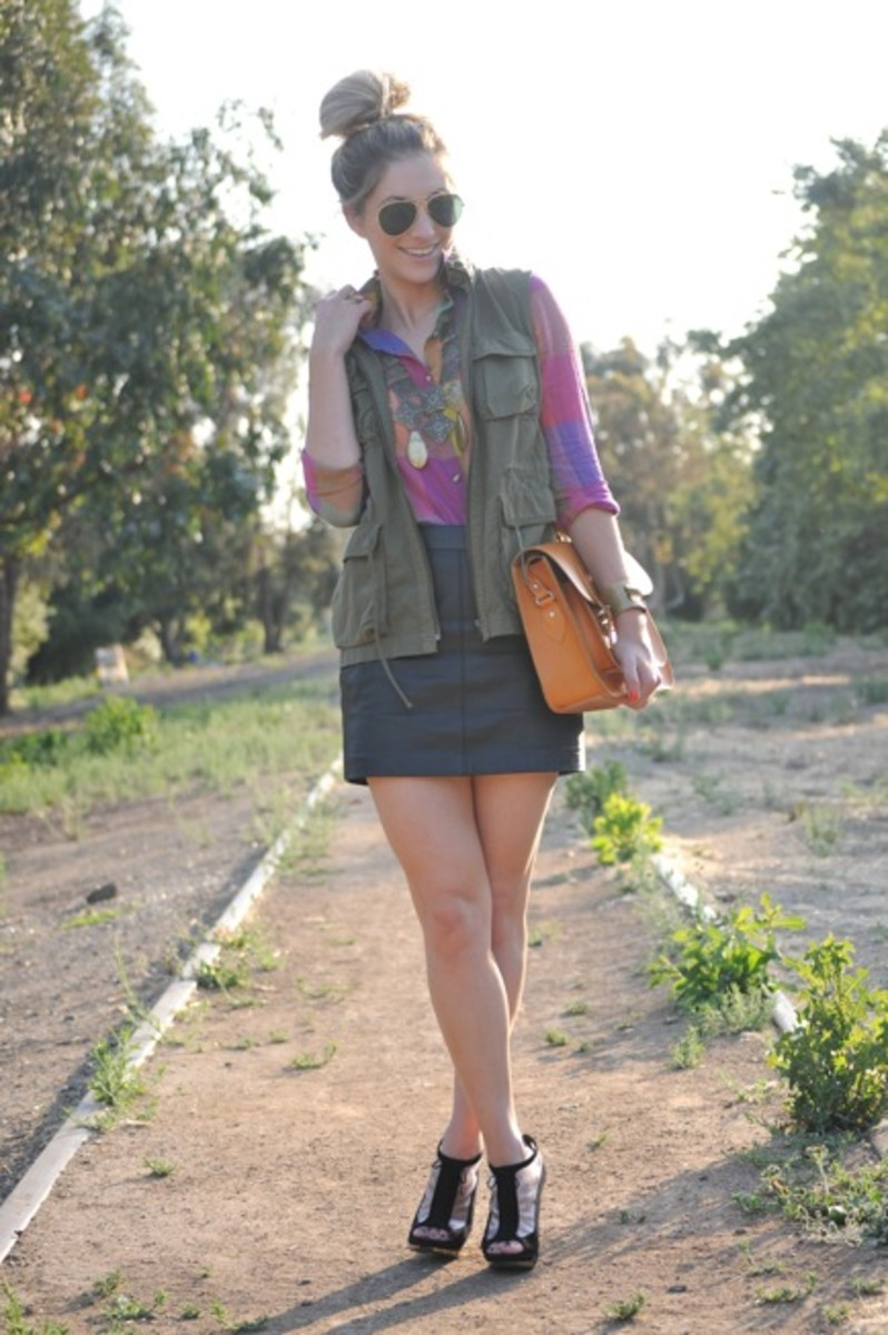 Vintage Aviators and Necklace, Urban Outfitters Blouse, J.Crew Vest, Handmade Bracelet (by my mom), Zara Skirt, Leather Satchel Company Clutch, Fendi Wedges