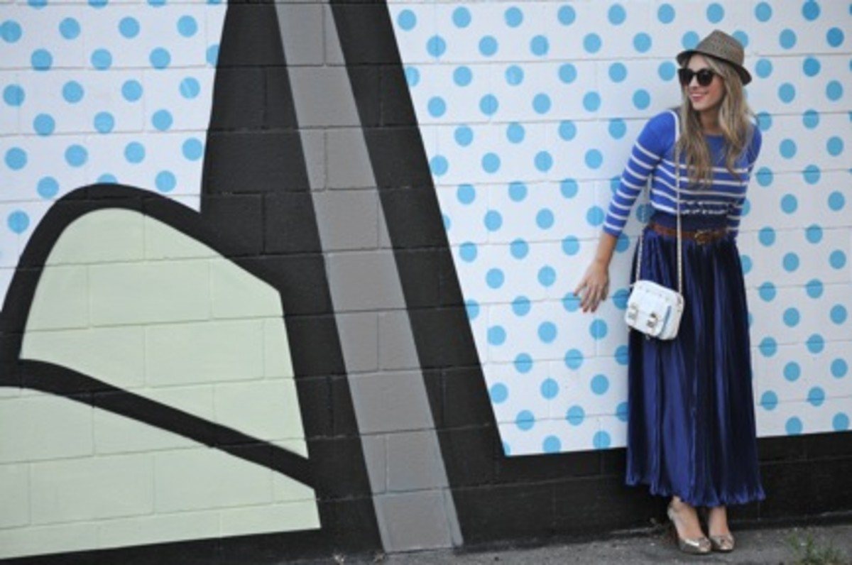 J.Crew Hat, Elizabeth and James Sunglasses, J.Crew Top, Rebecca Minkoff Bag, American Apparel Skirt, Vintage Belt, Christian Louboutin Heels, Maybelline 'Coral Crush' Lipstick
