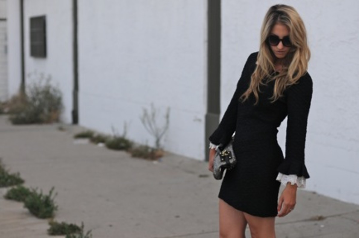 Pencey Booties, Vintage Dress, Free People Sunglasses, Coach Clutch