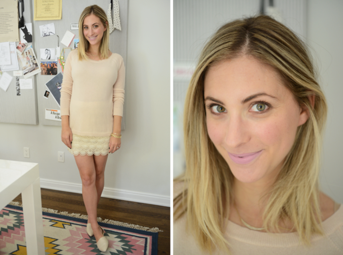 {Wednesday: Splendid Sweater c/o, Club Monaco Skirt, Jenni Kayne Flats, MAC 'Snob' Lipstick}