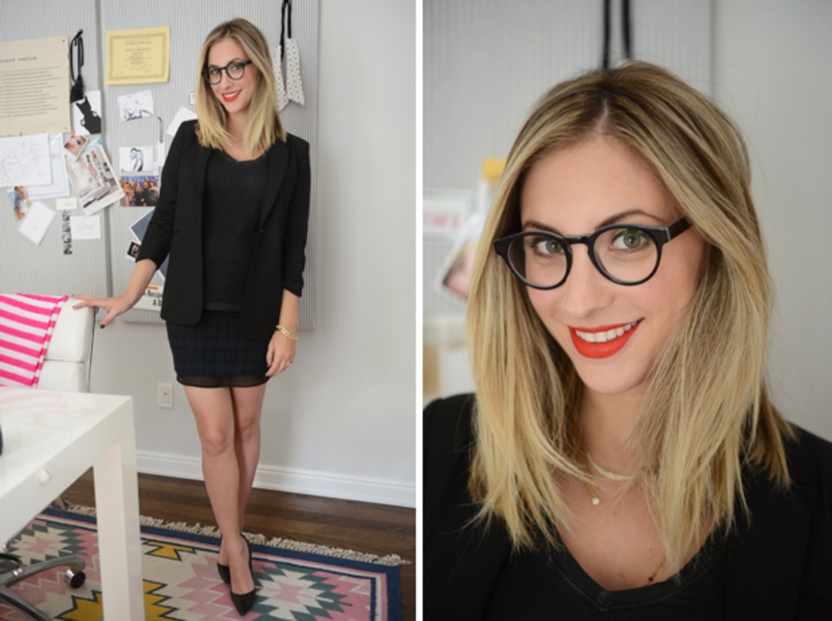 {Thursday: Elizabeth and James Blazer,T by Alexander Wang Shirt, Zara Skirt, Manolo Blahnik Pumps, LA Eyeworks Glasses,NARS 'Heatwave' Lipstick}