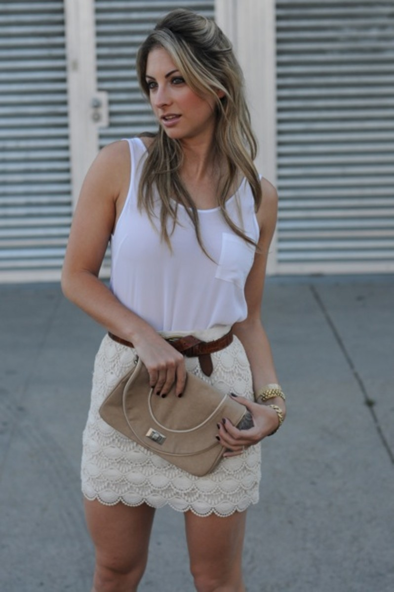 Club Monaco Tank and Skirt, Vintage Belt, Zara Clutch, Vintage + Dannijo Bracelets, Pencey Booties