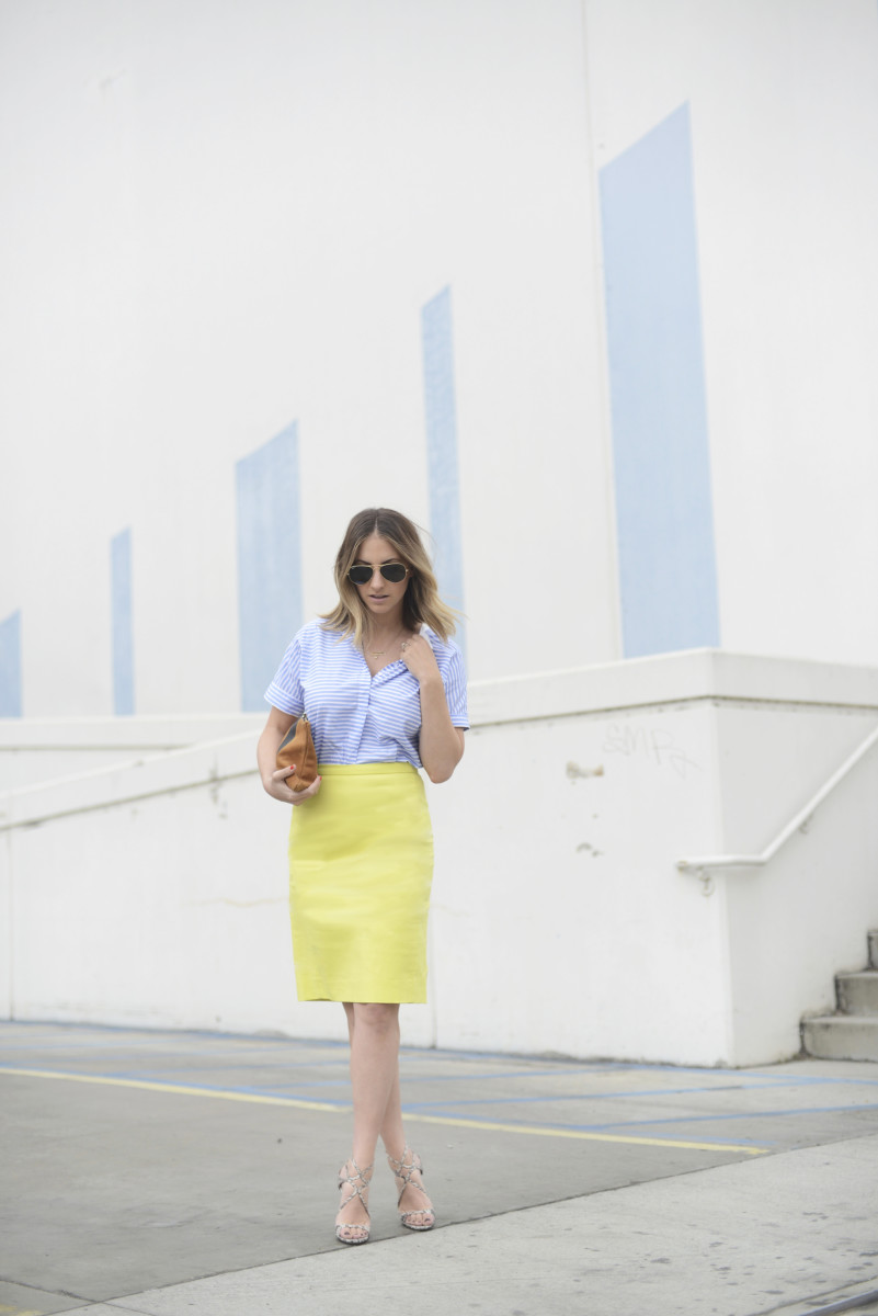 Oversized Ray-Ban Aviators, J.Crew Top and Skirt, Clare Vivier Clutch, Jimmy Choo Sandals c/o