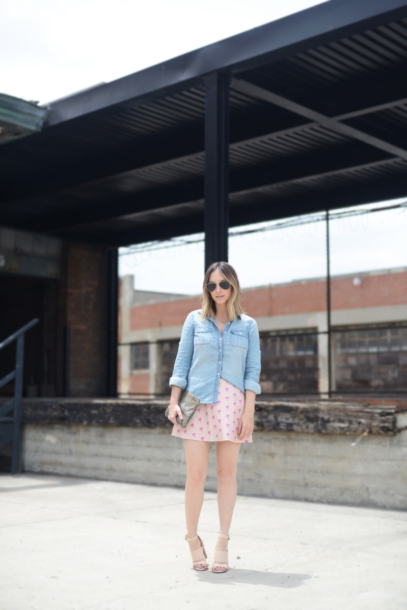 Ray-Ban Aviators, J.Crew Chambray Shirt, Love Leather Skirt, Givenchy Sandals, Vintage Clutch, OPI 'Toucan Do It If You Try' Nail Polish