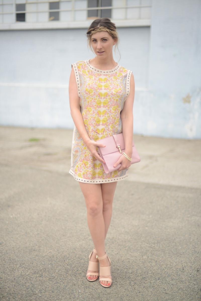 Cleobella Dress, Balenciaga Clutch, Givenchy Sandals, Essie 'Peach Babe' Nail Polish
