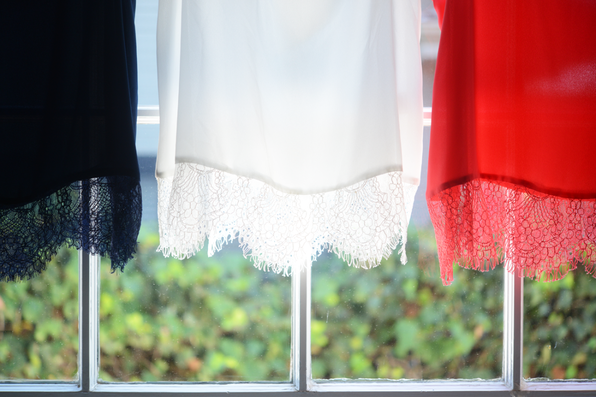 Red, white and blue lace-bottom tops.