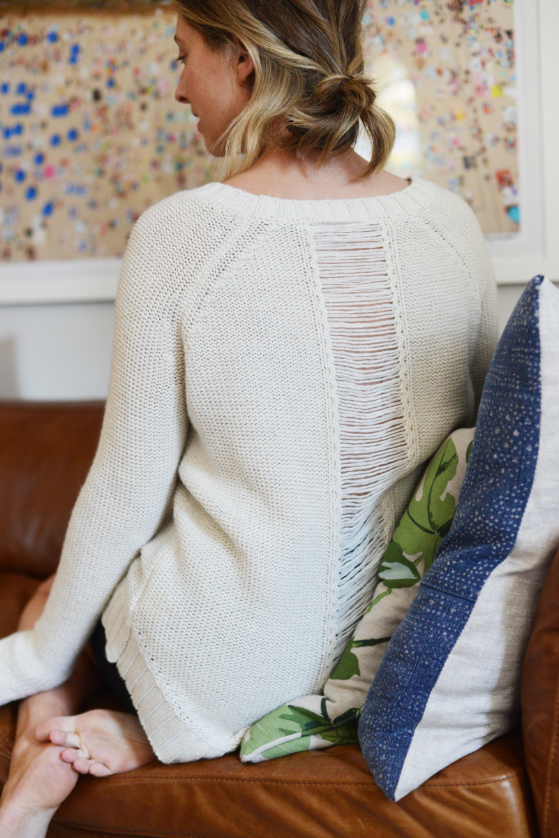 Traditional Fisherman's sweater, with a distressed spine.