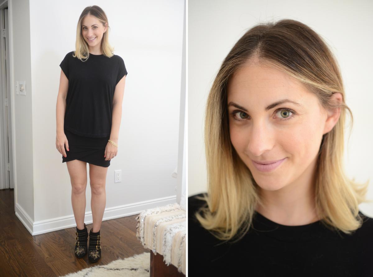 {Tuesday: Robert Rodriguez Shirt, James Perse Skirt (similar), Chloé Booties, NARS 'Roman Holiday' Lipstick}