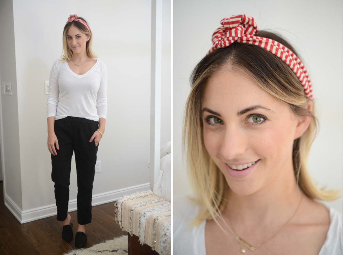 {Friday: LNA Shirt, Theory Pants, Jenni Kayne Mules, American Apparel Headband, RMS 'Demure' Lipcolor}