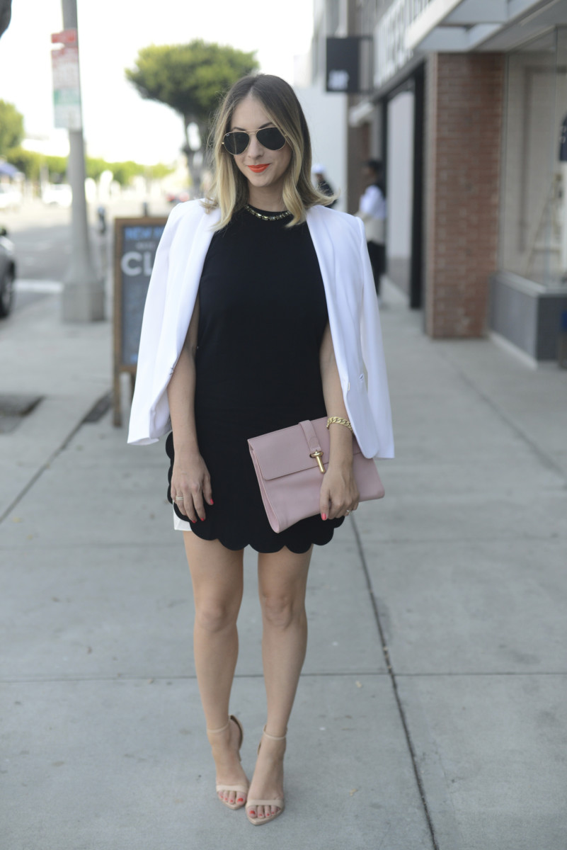 A.L.C 'Alexis' Dress (sold out), Ray-Ban Aviators, J.Crew Necklace, Rag + Bone Blazer, Balenciaga Clutch, Zara Sandals, Essie 'Cute as a Button' Fingernail Polish, tenoverten 'Lucky Red' Toenail Polish, Makeup Forever #40 Lipstick