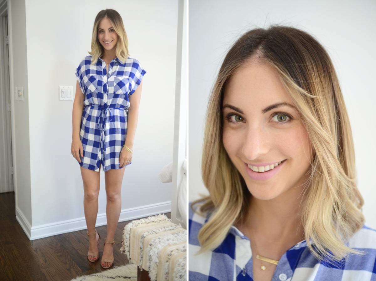 {RAILS Dress, J.Crew Sandals, RMS 'Demure' Lip2Cheek}