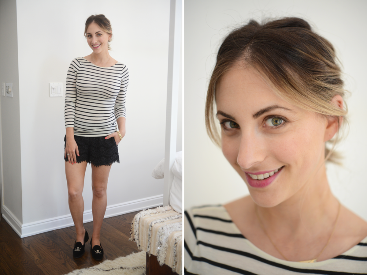 {Tuesday: Club Monaco Top, Madewell Shorts, Stubbs + Wooten Slippers, MAC 'Rebel' Lipstick}