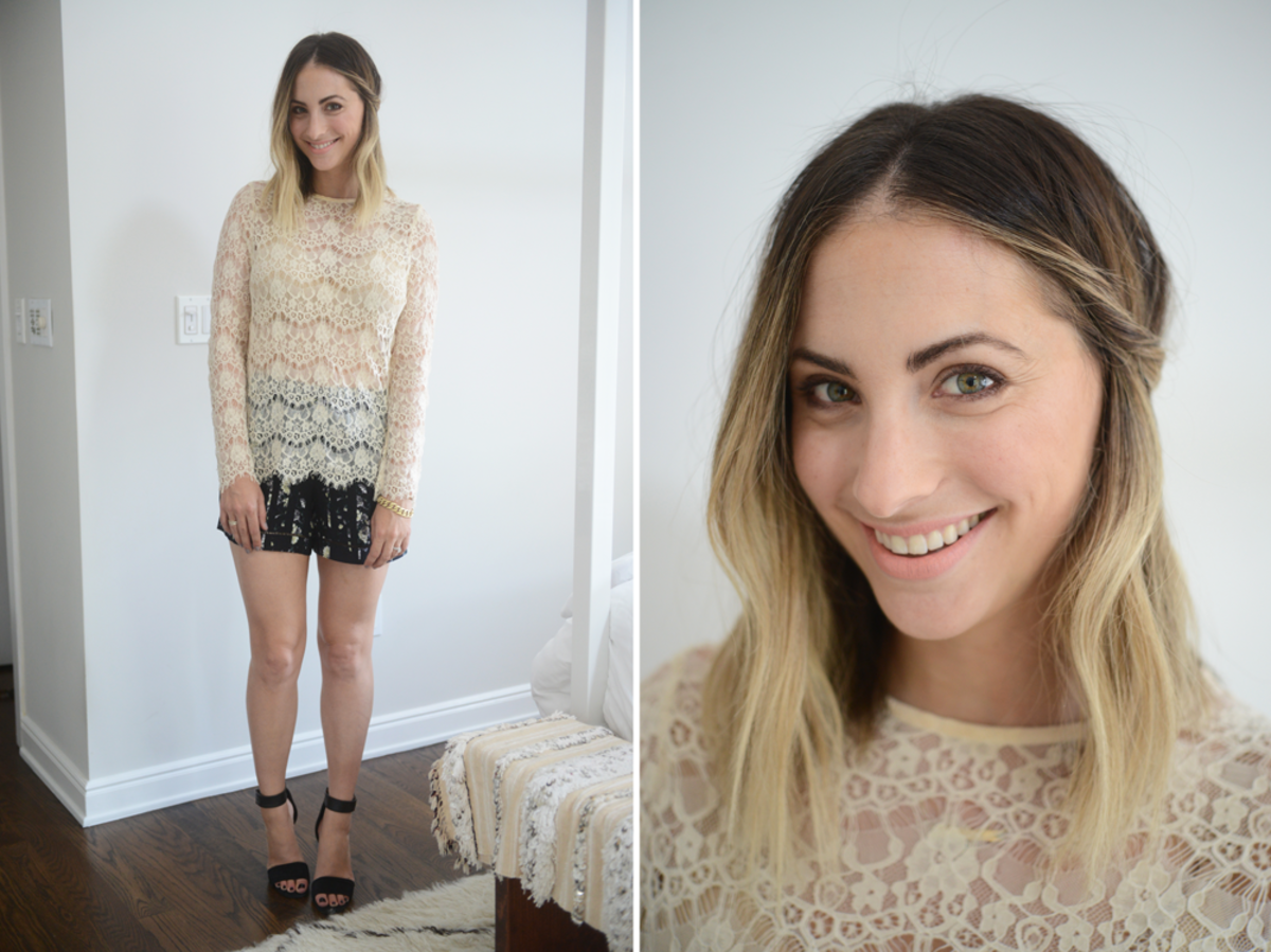 {Thursday: Topshop Lace Top, Club Monaco Shorts, Topshop Sandals, Topshop 'Whimsical' Lipstick}