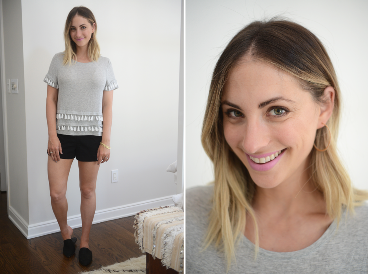 {Thursday: H&M Top, J.Crew Shorts, Jenni Kayne Mules, XIV Hoops, MAC 'Snob' Lipstick}