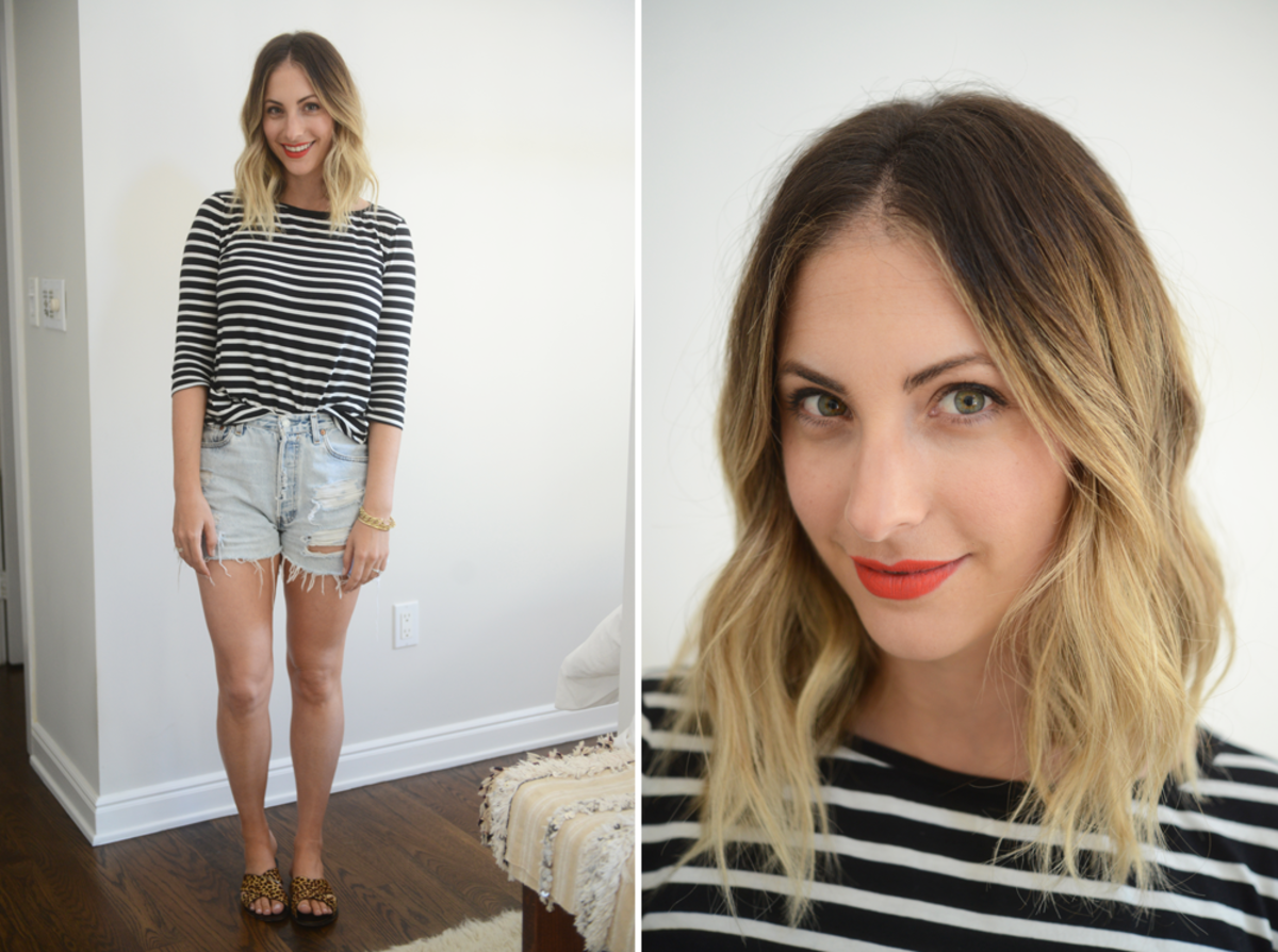 {Monday: Cupcakes and Cashmere Striped Tee, Vintage Levi's Shorts, J.Crew Sandals, NARS 'Heat Wave' Lipstick}