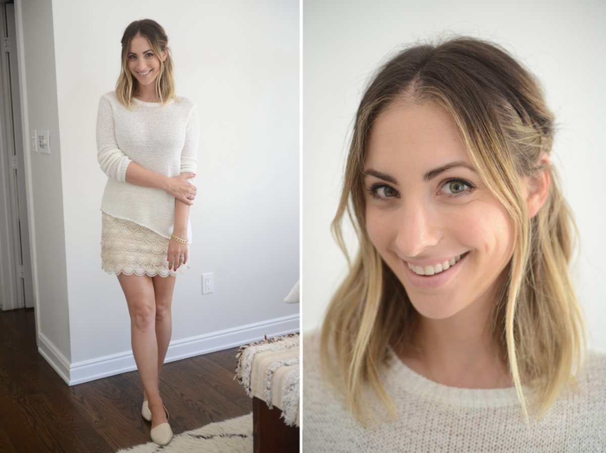 {Monday: Cupcakes and Cashmere Sweater, Club Monaco Skirt, Jenni Kayne Flats, Tom Ford 'Nude Vanille' Lipstick}