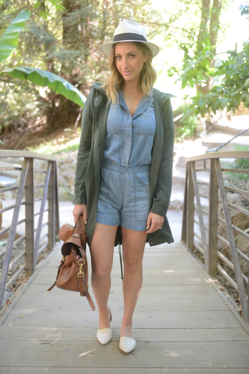 J.Crew Chambray Romper, Cupcakes and Cashmere Bodega Hooded Coat, Jenni Kayne D'Orsay Flats, J.Crew Hat, Mulberry Bag
