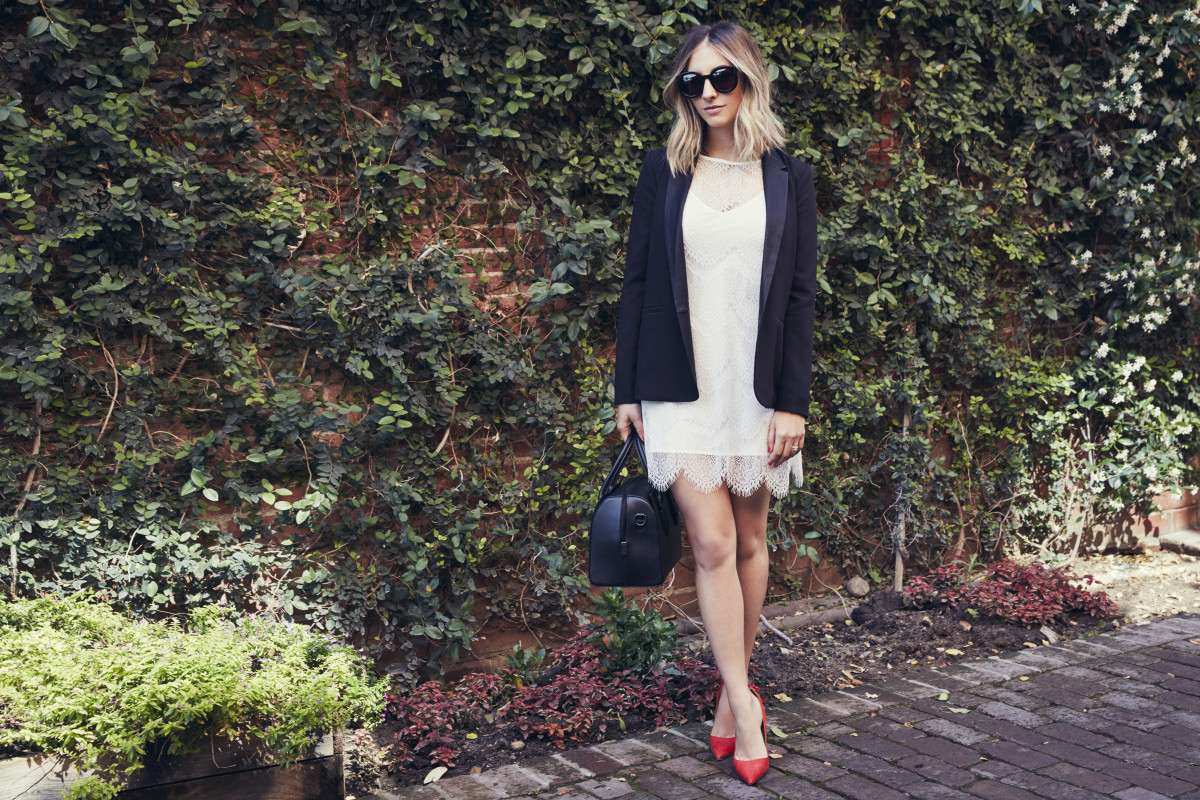 Cupcakes and Cashmere lace dress and blazer,undefinedKaren Walker sunglasses, Opening Ceremony bag, Aquazzura pumps.