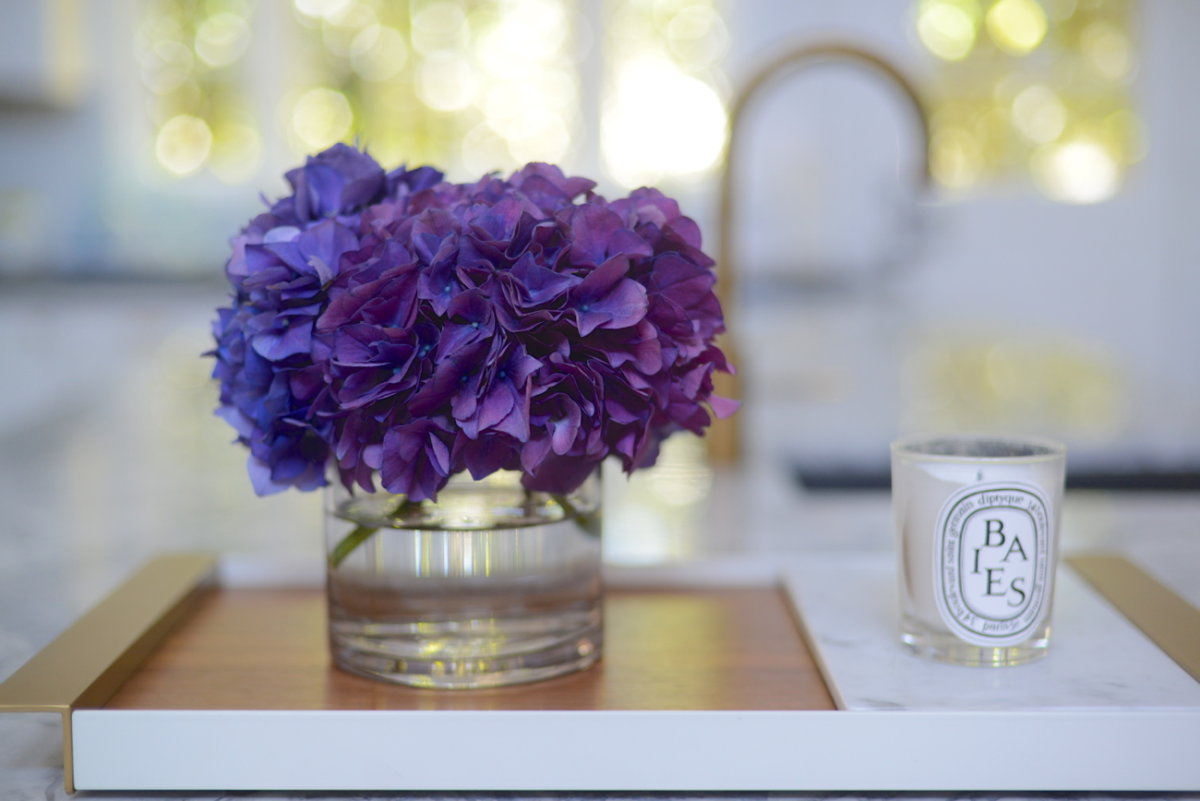 {Deep purple hydrangeas from the farmers' market}