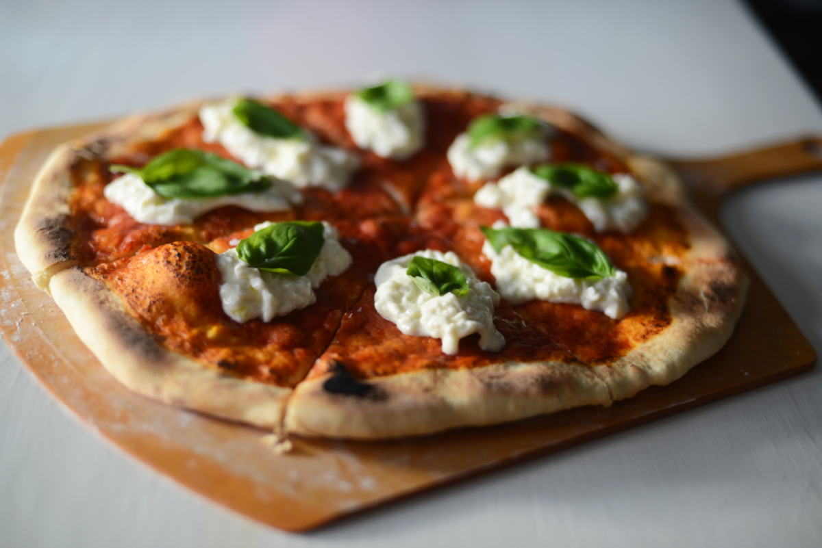 {Homemade pizza with farmers' market burrata}