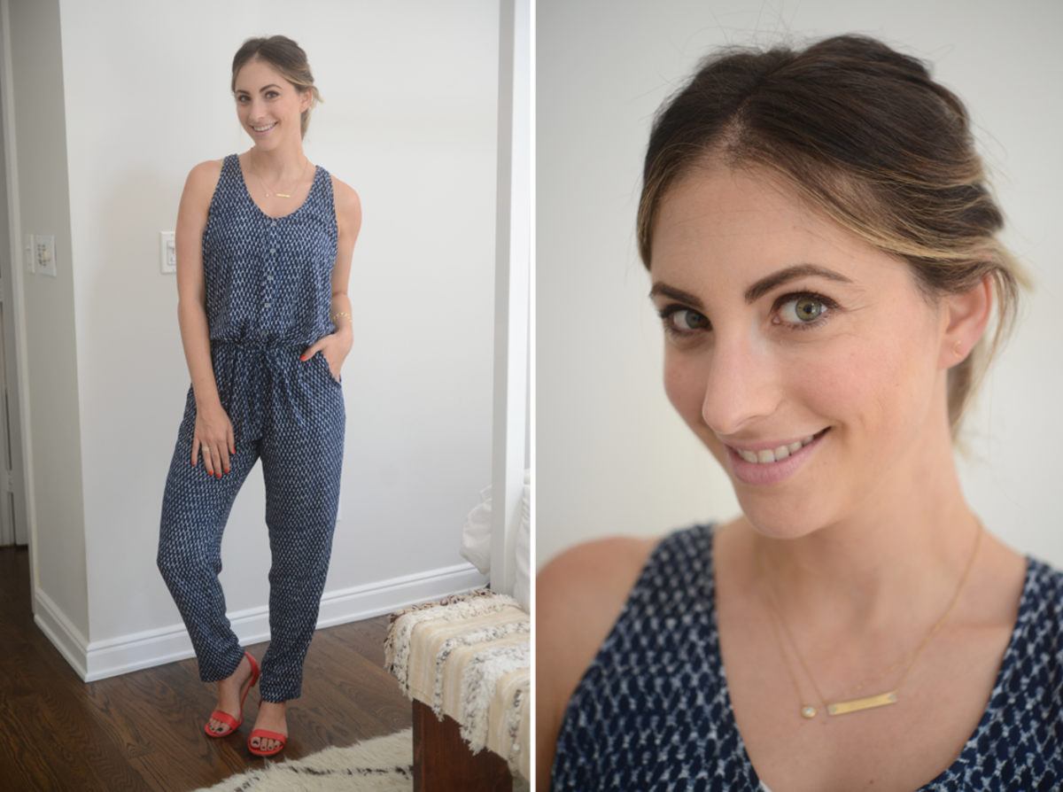 {Wednesday: Joie Soft Jumpsuit, J.Crew Sandals, Topshop 'Saint' Lipstick}