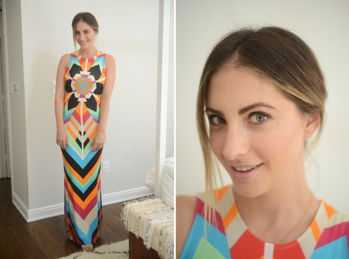 {Monday: Mara Hoffman Dress (similar), Philosophy Sandals, Topshop 'Saint' Lipstick}
