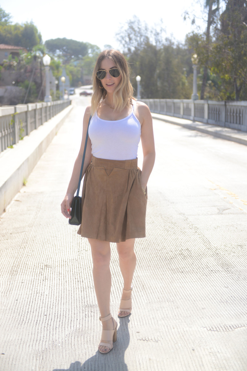 Ray-Ban Aviators, Dannijo Earrings, C&C Tank, Jaeger Skirt c/o, Givenchy Sandals, Tod's Purse
