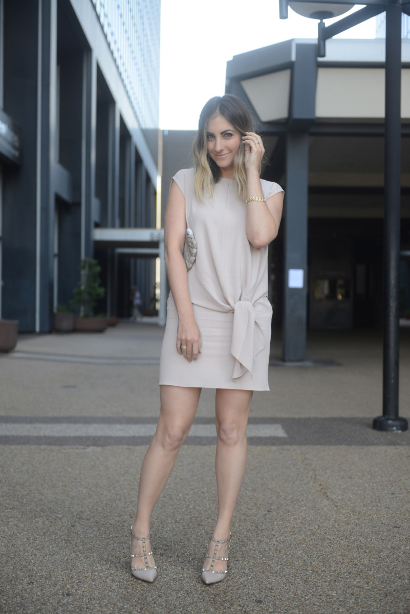 Tibi Dress, Vintage Clutch, Valentino Heels