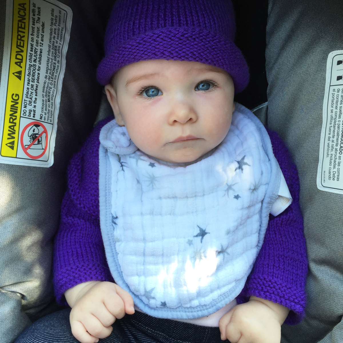 {Sloan sporting a matching set that her great-grandmother knit}