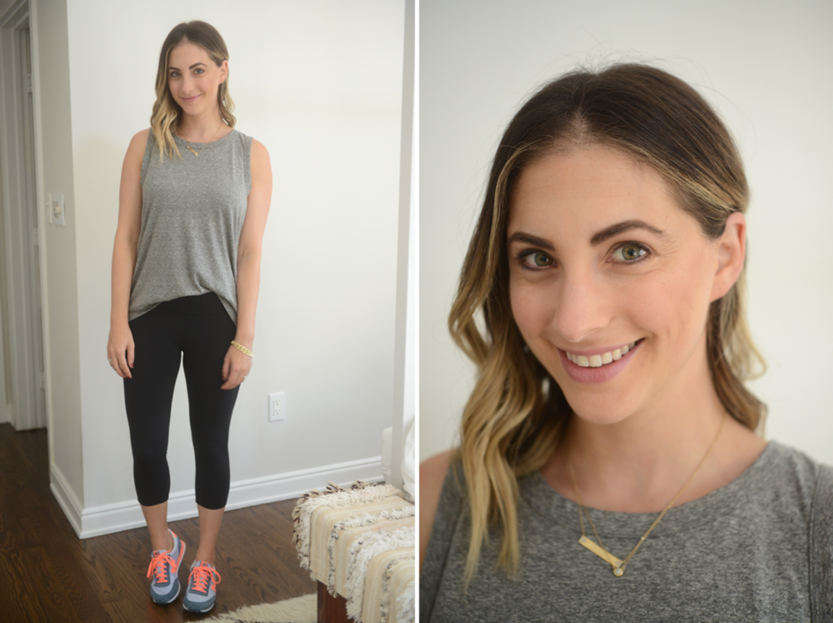 {Friday: Current/Elliott Top, Lululemon Leggings, New Balance Shoes}