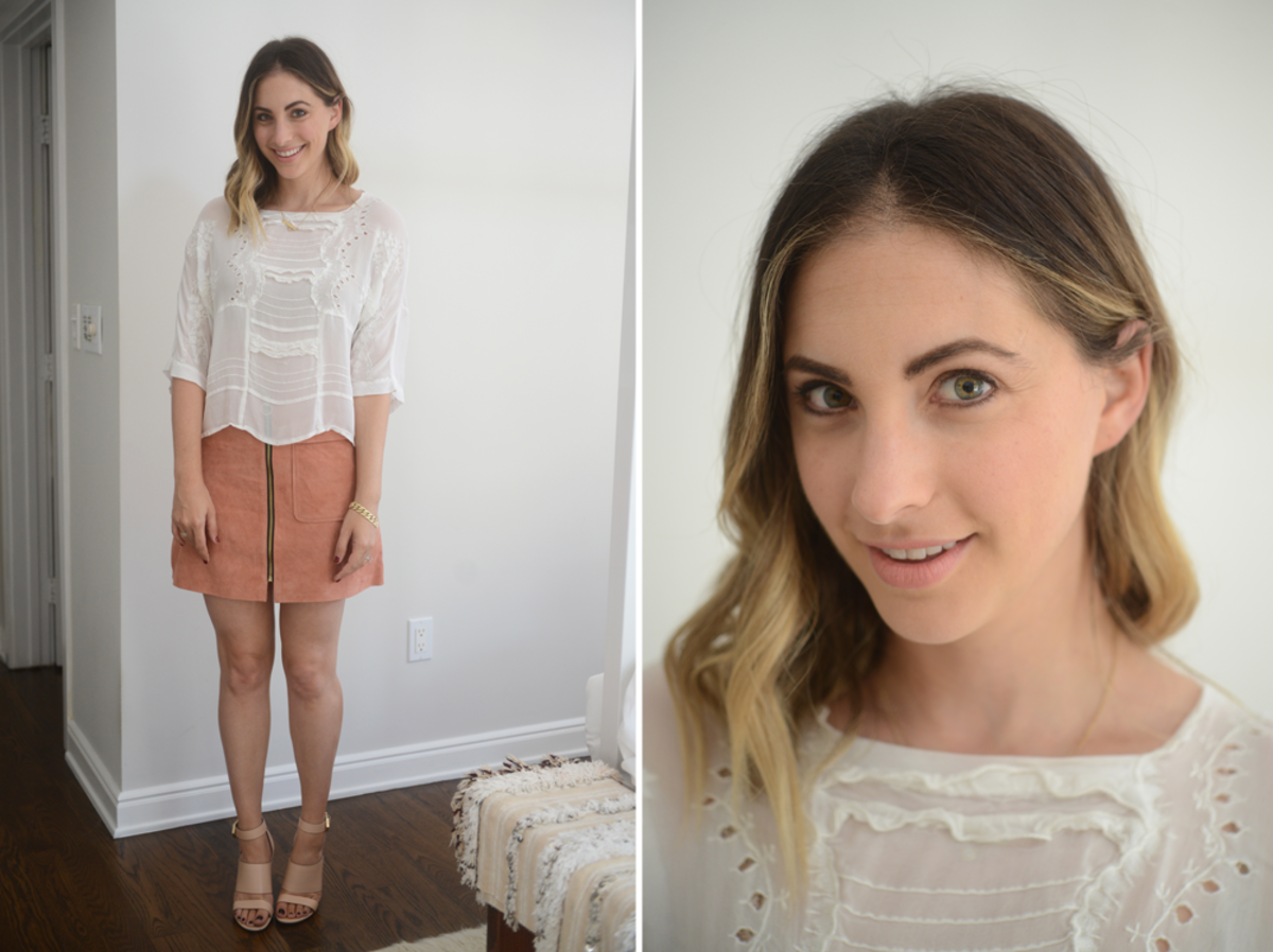 {Thursday: Topshop Blouse, Forever 21 Skirt, Givenchy Sandals, Topshop 'Whimsical' Lipstick}