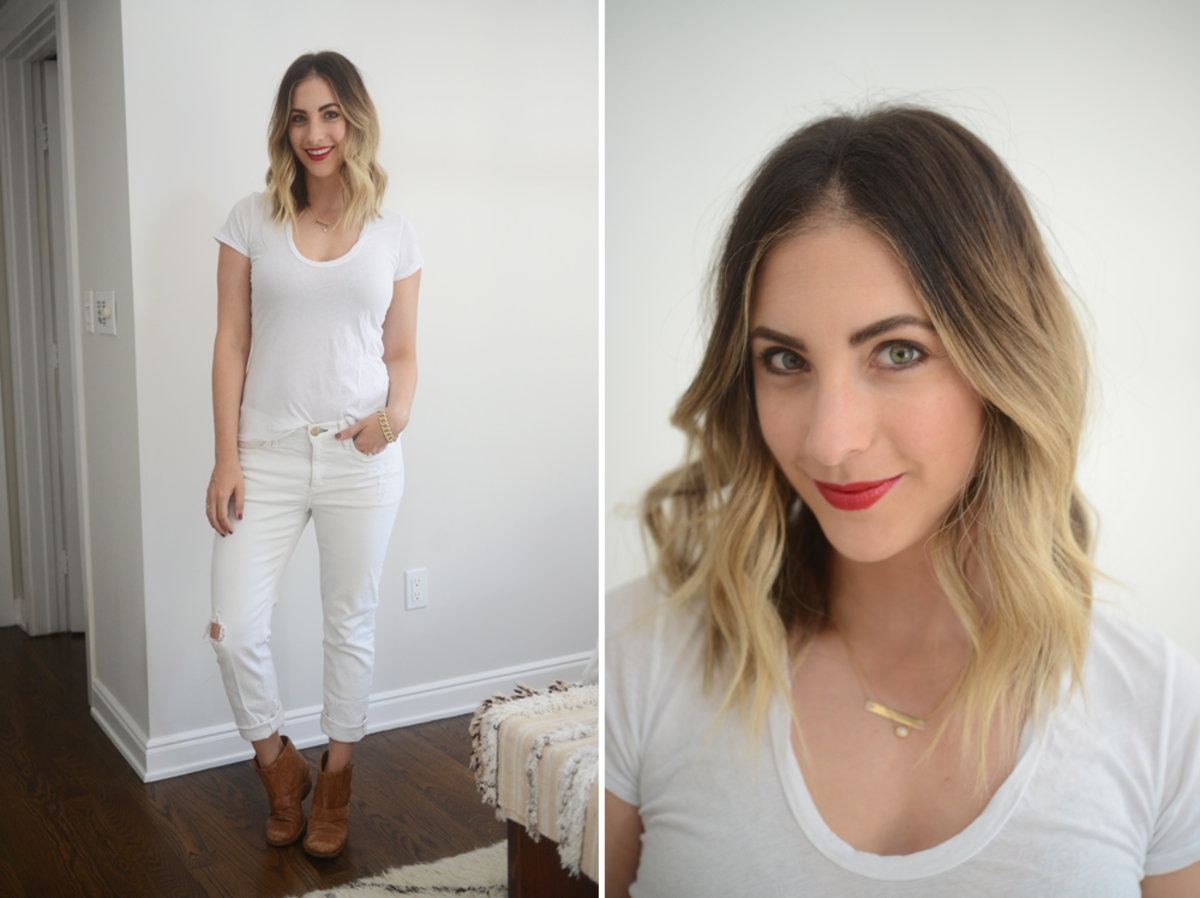 {Tuesday: James Perse Top, McGuire Jeans, VPL Booties, Tom Ford 'Cherry Lush' Lipstick}
