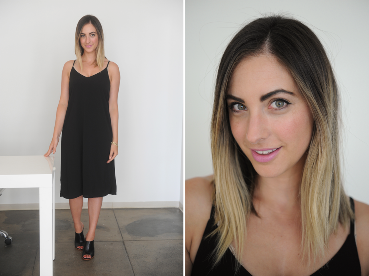 {Monday: Bishop + Young Dress (similar), Louise et Cie Mules, Maybelline 'pink punch' Baby Lips}