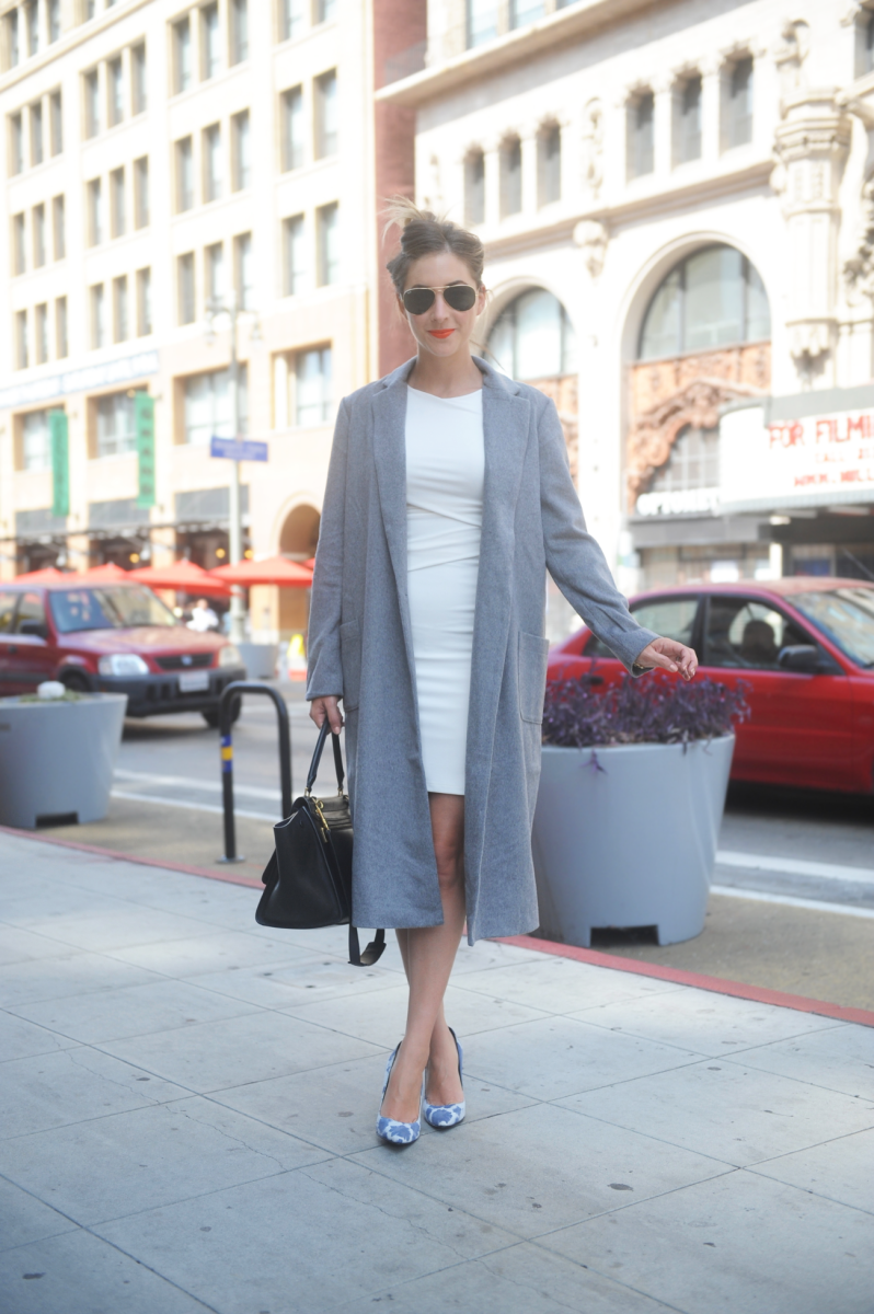Ray-Ban Aviators, Cupcakes and Cashmere Coat, Enza Costa Dress, Elyse Walker Tie Dye Pumps, Celine Bag, Makeup Forever Lipstick in #40